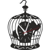 Sa Lazer Siyah Hediyelik Ahşap Dekoratif Kuş Kafesi Desen Duvar Saati 50 cm