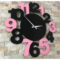 Sa Lazer Siyah Hediyelik Dekoratif Ahşap Pembe Desenli Duvar Saat 50 cm