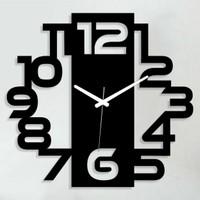 Sa Lazer Siyah Hediyelik Dekoratif Ahşap Farklı Desen Duvar Saat 50 cm S-11