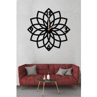 Sa Lazer Siyah Hediyelik Dekoratif Ahşap Çiçek Desenli Duvar Saat 50 cm