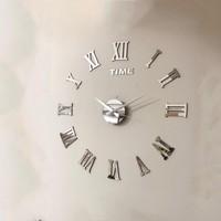 Ata Dekoratif 3D Duvar Saati Roma Rakamlı Gümüş Renk
