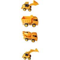 Meva Oyuncak İş Makinaları Sürtmeli 4'lü Set - Dozer + Kepçe + Mikser + Kamyon