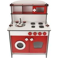 Emrin Oyuncak Hediyelik Eşya Montessori Kırmızı Küçük Boy Ahşap Oyuncak Mutfak Seti + Kızımın Odası Yazılı Kapı Duvar Süsü
