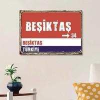 Ferman Hediyelik Beşiktaş Tabelası Ahşap Retro Poster