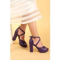 Ayakland 3210-2058 Cilt Abiye 11 Cm Platform Topuk Kadın Sandalet Ayakkabı Mor