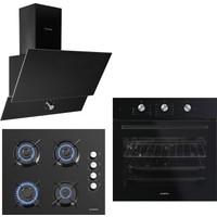 Kumtel Dizayn Siyah Cam Ankastre Set (DA6-830 Siyah Davlumbaz + KO-40TAHDF Ankastre Siyah Ocak + B66-S2 (MT) (3 Pro 3 Düğme ) Siyah Cam Fırın)