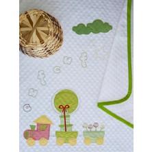 Mellow Pamuk Yeşil Tren Desenli Bebek Pikesi