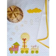Mellow Pamuk Sarı Tren Desenli Bebek Pikesi