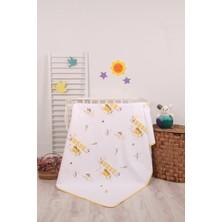 Mellow Pamuk Sarı Çiçek Bahçesi Desenli Bebek Pikesi