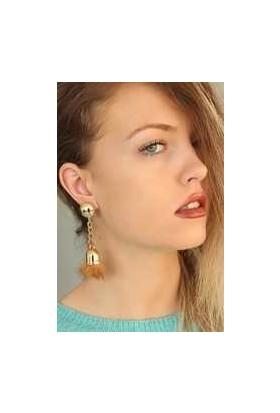 Clariss Camel Renk Tüylü Gold Metal Bayan Sallantı Küpe
