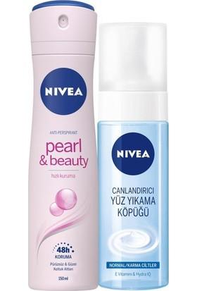 Nivea Pearl Beauty Bayan Deosprey 150ml+YÜZ Temizleme Köpüğü Normal ve Karma Ciltler 150 ml