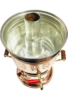 Bakır Çay Semaver Odunlu Kömürlü 5 Litre + Bakır Demlik Hediyeli