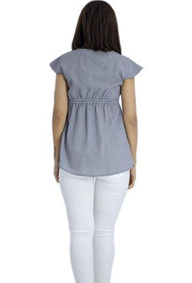 Trendy Düğme Detaylı Hamile Bluz 1736Lacivert
