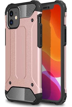 Case 4U Apple iPhone 12 Kılıf Çift Katmanlı Zırh Koruma Tank Crash Arka Kapak Rose Gold