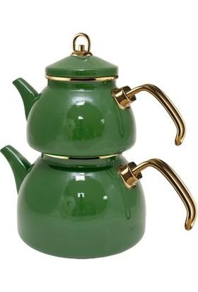 Grandeur Glory Emaye Çaydanlık Takımı Koyu Yeşil