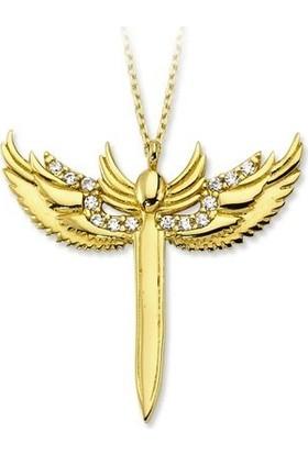 Dalmarkt Mikailin Kılıcı Figürlü Taşlı Kolye 925 Ayar Gümüş