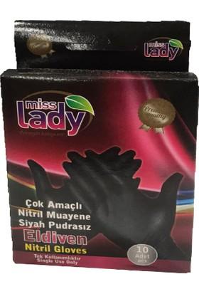 Miss Lady Nitril Siyah Eldiven 10'lu