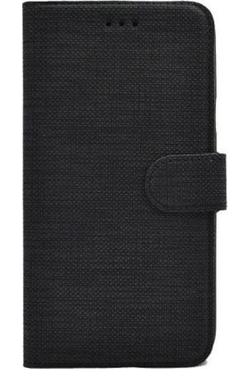 Magazabu Oppo A72 Kumaş Spor Standlı Kapaklı Kartlıklı Cüzdan Kılıf Siyah