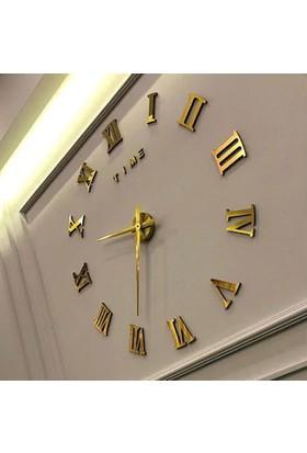 Ata Dekoratif 3D Duvar Saati Roma Rakamlı Altın Renk