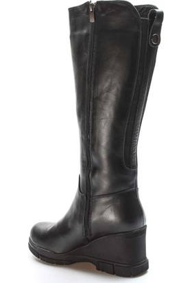 Fast Step Deri Kürklü Kadın Dolgu Topuk Çizme 407KZA3314