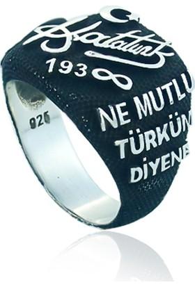 Gümüşstil 925 Ayar Gümüş Mustafa Kemal Atatürk Silüet Erkek Yüzük