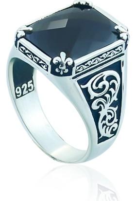 Gümüşstil 925 Ayar Gümüş Siyah Zirkon Taşlı Erkek Yüzük