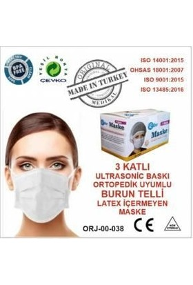 Rabır Telli Cerrahi Maske 3 Katlı 150 Adet (Aparat Hediyeli)