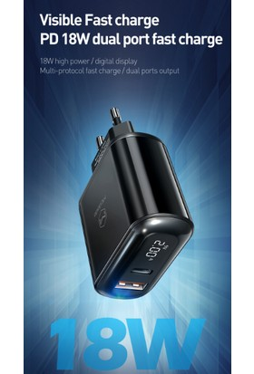 Mcdodo Pd/qc3.0 18W Type C ve USB Girişli LED Göstergeli Şarj Cihazı Siyah - CH-7170