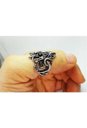 Osmanlı Gümüş Ejderin Gözü Erkek Zihgir Okçu Başparmak Yüzüğü