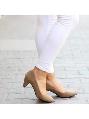Pabucmarketi Comfort Vizon Kuzu Kadın Stiletto Ayakkabı
