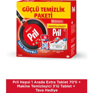 Pril Hepsi 1 Arada Extra 70 Tablet+Makina Temizleyici + Tava