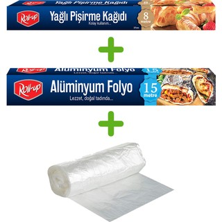 Roll-Up Çöp Poşeti Alüminyum Folyo Yağlı Pişirme Kağıdı 3'lü Set