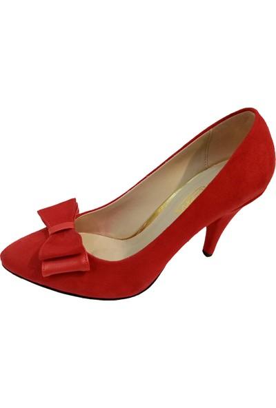 Gizem 360 Süet Fiyoklu Stiletto Kalın Topuk Kadın Ayakkabı
