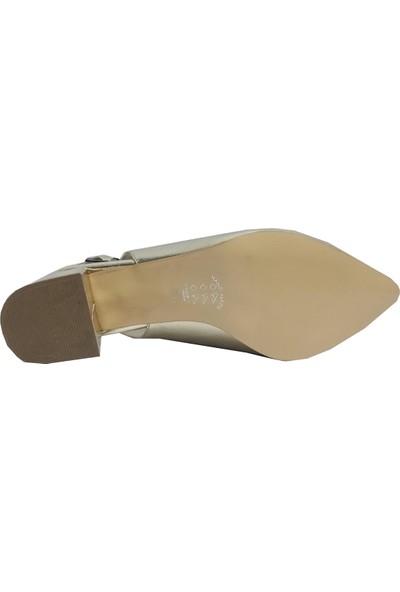 Gizem 790 Kırışık Deri Arkası Açık Kalın Topuklu Kadın Ayakkabı