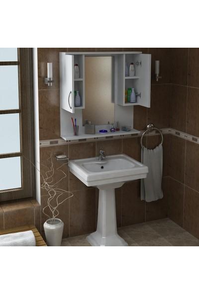 Dekorister Tiger Aynalı Banyo Dolabı Etajer Beyaz