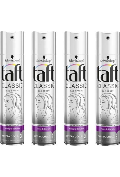 Taft Classic Ekstra Güçlü Sprey 250 ml 4 Lü Set