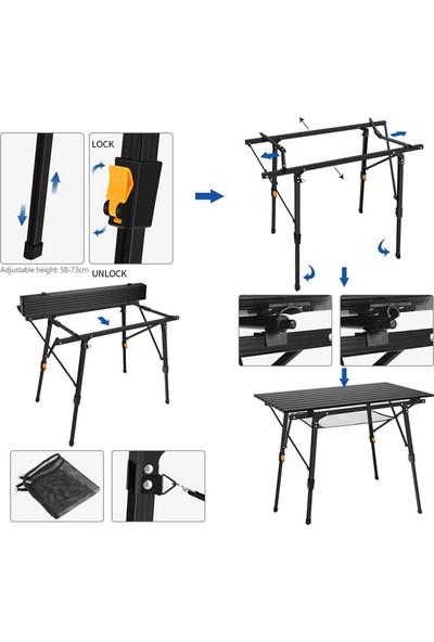 Funky Chairs Elite Alüminyum Teleskopik Ayaklı Kamp Piknik Masası - Siyah