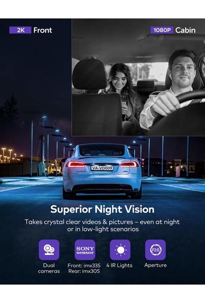 Vava VD009 Çift Kameralı Gece Görüşlü Araç Içi Yol Kamerası (Yurt Dışından)
