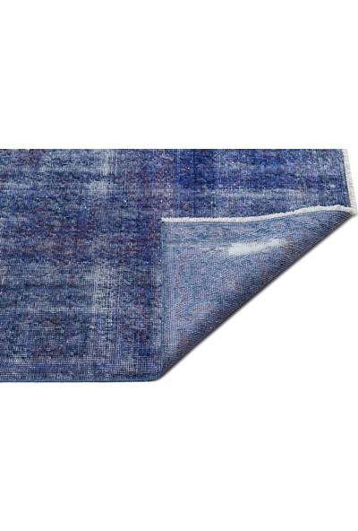Grand Hedef Halı Mavi Renk Vintage El Dokuma Halı 247 x 353 cm