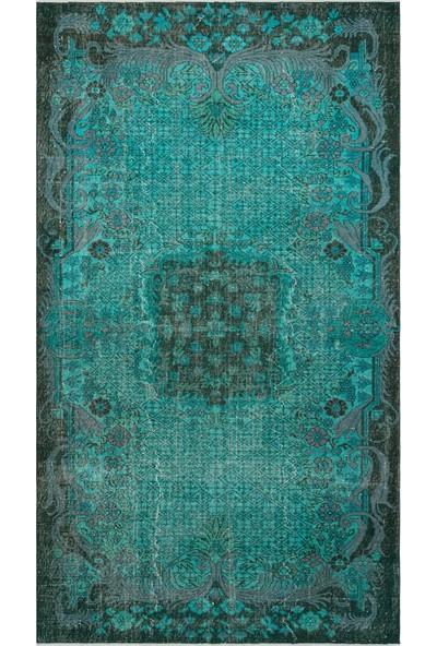 Grand Hedef Halı Turkuaz Renk Vintage El Dokuma Halı 162 x 292 cm
