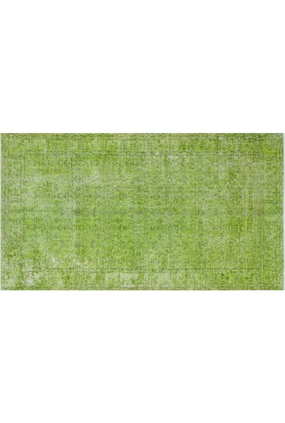 Grand Hedef Halı Yeşil Renk Vintage El Dokuma Halısı 155 x 282 cm