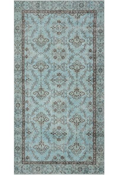 Grand Hedef Halı Açık Mavi Renk Vintage El Dokuma Halısı 136 x 260 cm