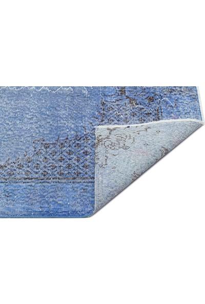 Grand Hedef Halı Mavi Renk Vintage El Dokuma Halısı 113 x 212 cm