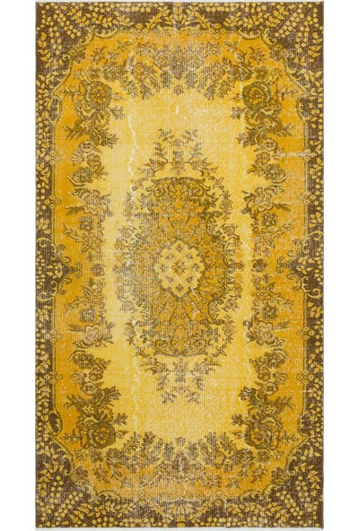 Grand Hedef Halı Sarı Renk Vintage El Dokuma Halısı 116 x 210 cm