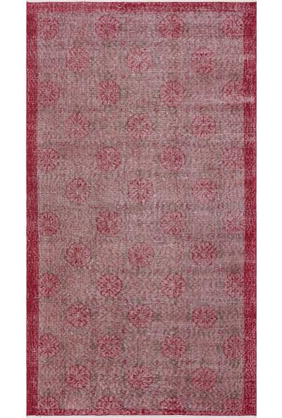 Grand Hedef Halı Bordo Renk Vintage El Dokuma Halısı 115 x 207 cm