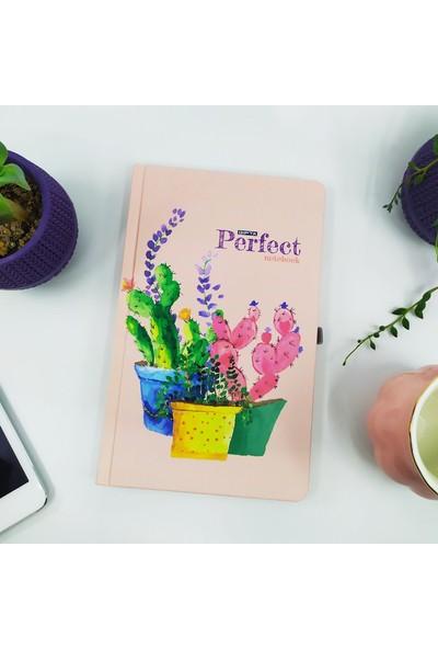 Şeker Ofisi Sevimli Kaktüslü A5 Çizgili Yırtmaçlı Defter Notebook Pembe