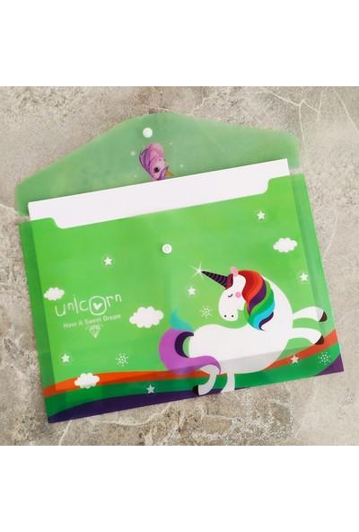 Şeker Ofisi Sevimli Unicorn Yeşil A4 Çıtçıtlı Dosya