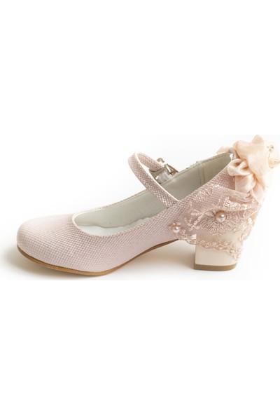 Minipicco Kız Çocuk Pudra Özel Tasarım Abiye Ayakkabı