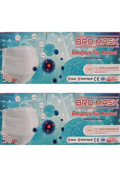 Bromask 2 Kutu 100 Adet 3 Katlı Burun Tellisteril Cerrahi Maske