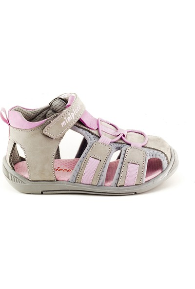 Minipicco Unisex Çocuk Gri Pembe Deri Sandalet
